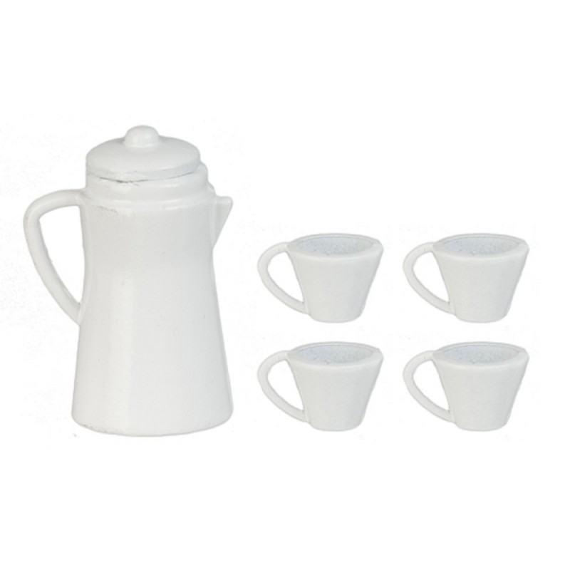 Dolls House White Coffee Pot & Mugs Miniature Kitchen Accessory