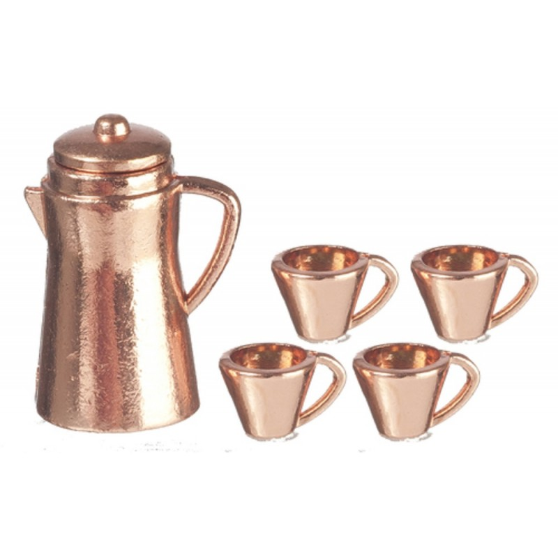 Dolls House Copper Coffee Pot & Mugs Miniature Kitchen Accessory