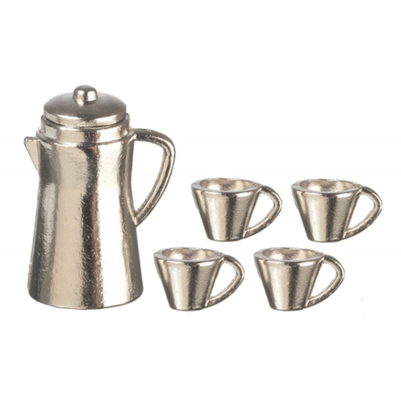 Dolls House Chrome Coffee Pot & Mugs Miniature Kitchen Accessory