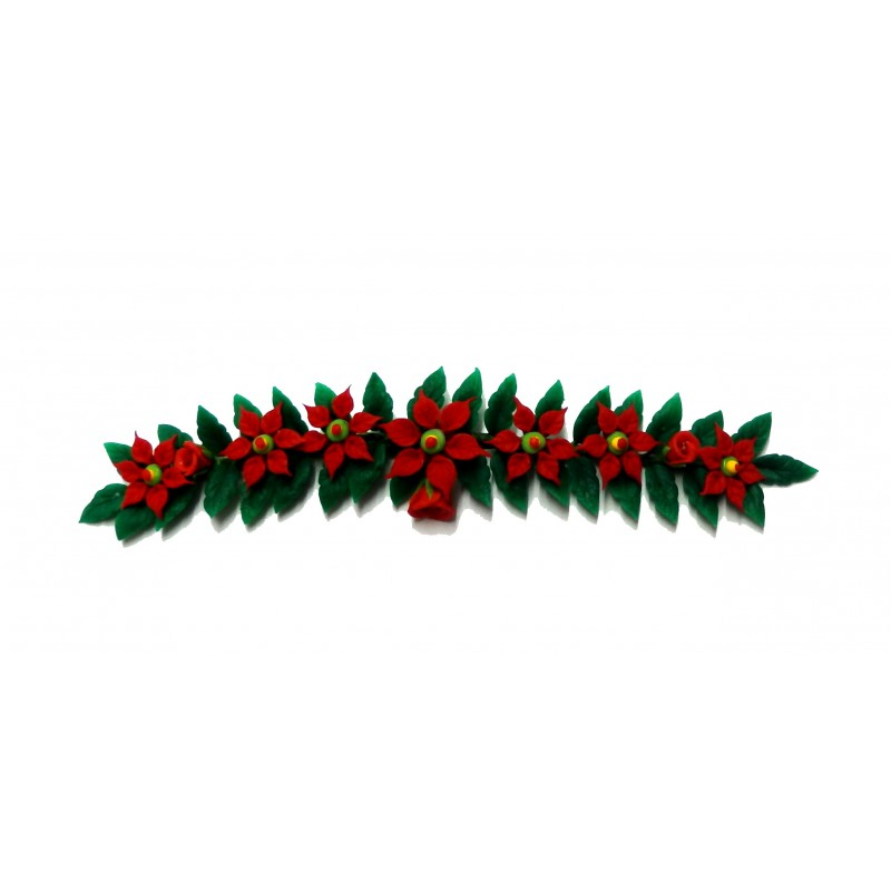 Dolls House Poinsettia Christmas Garland Fireplace Decoration 1:12