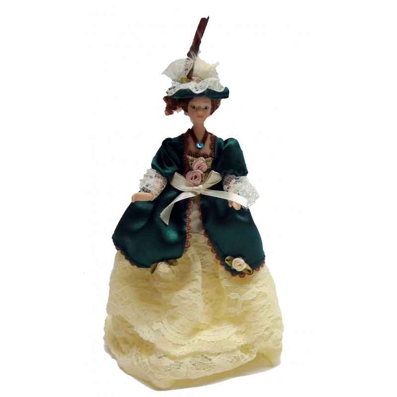 Dolls House Victorian Lady in Green Miniature 1:12 People Porcelain