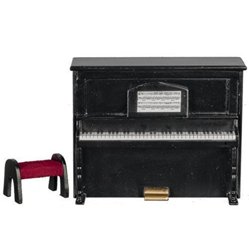 Dolls House Black Upright Piano & Bench Music Room Furniture
