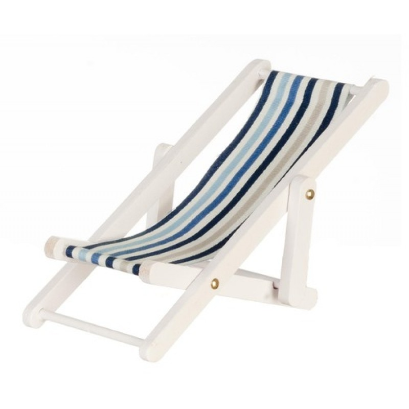 Dolls House Miniature White Wooden Blue Stripe Folding Deck Chair