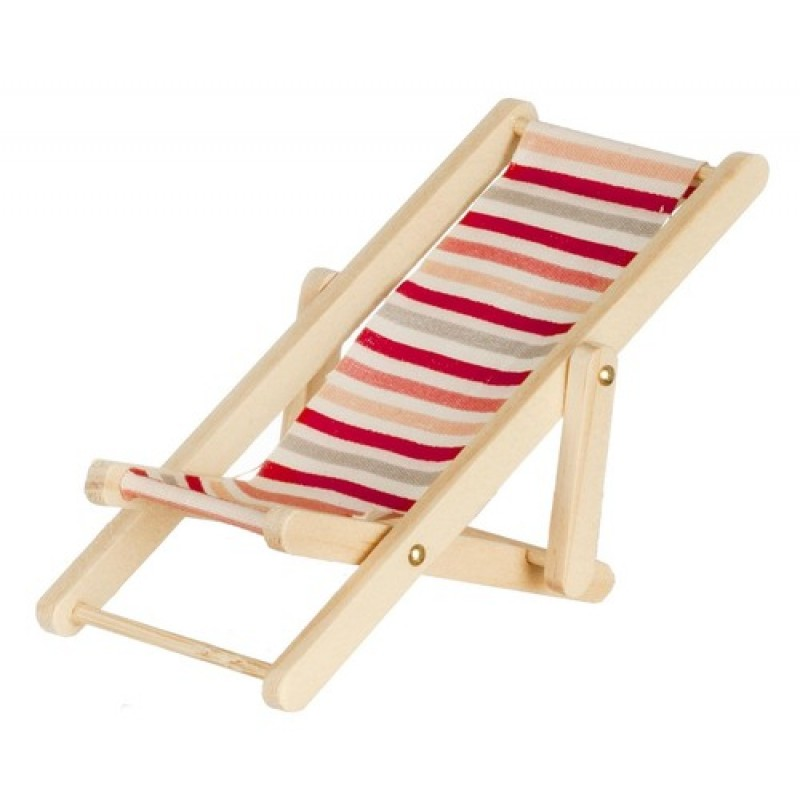 Dolls House Miniature Wooden Pink And Red Stripe Folding Deck Chair