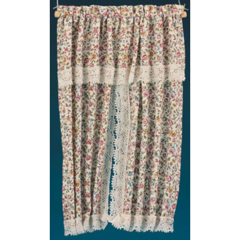 Dolls House Floral Lace Drape Curtains Miniature Window Accessory
