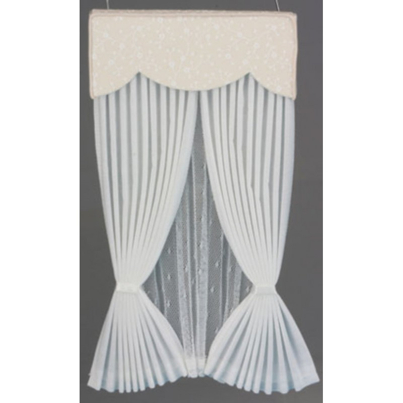 Dolls House White Ecru Vale Draperies Curtains Miniature Accessory