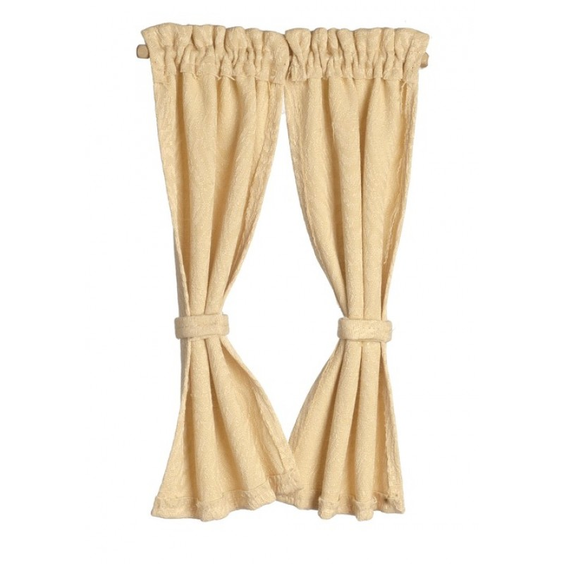 Dolls House Light Gold Curtains on Rail Miniature Window Accessory