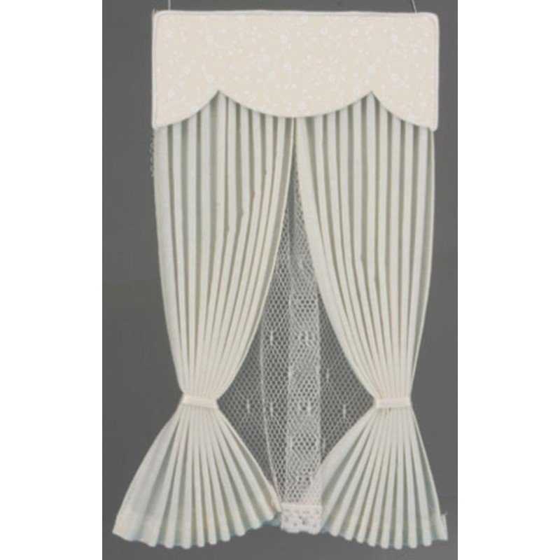 Dolls House Ecru Vale Draperies Curtains Miniature Window Accessory