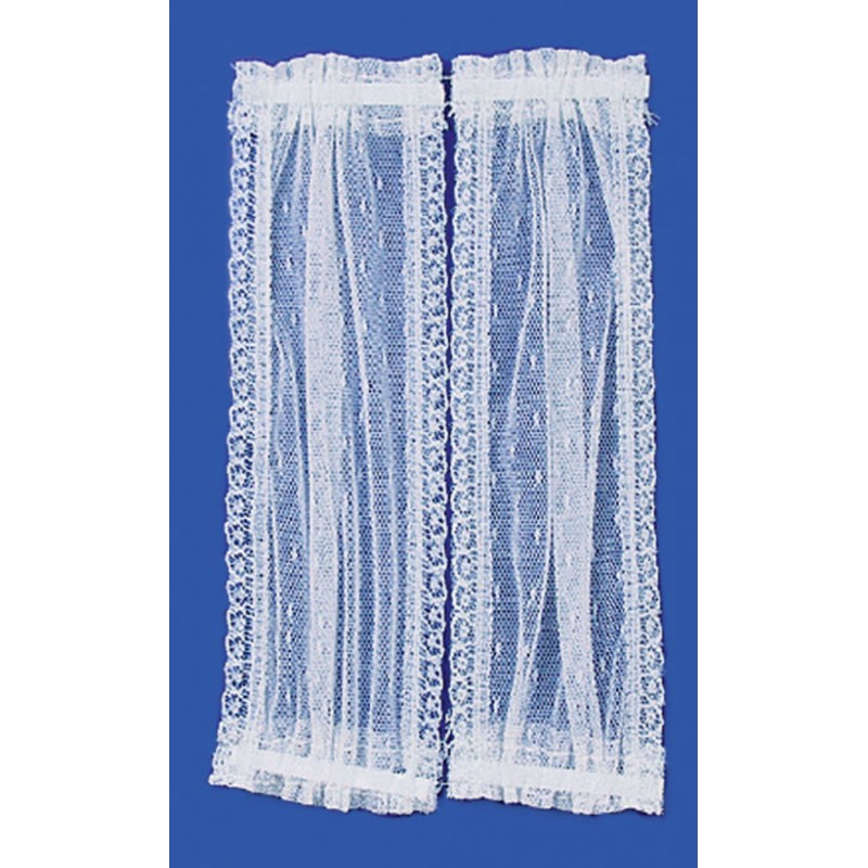 Dolls House White Double Panel Door Curtains Window Accessory