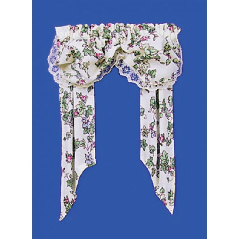 Dolls House Floral Curtains with Double Balloon Valance Miniature Accessory