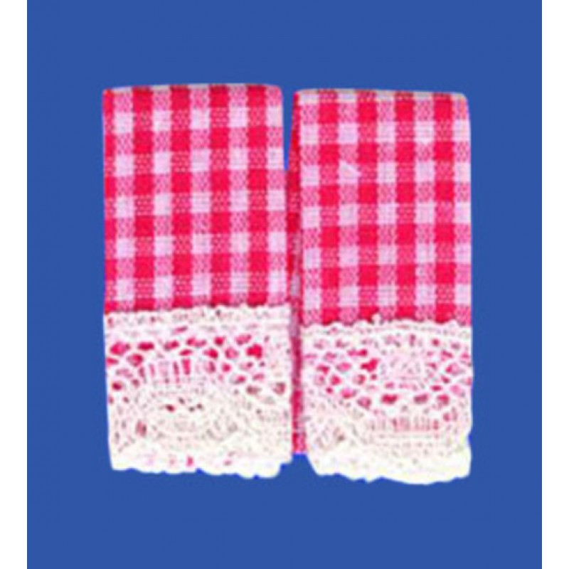 Melody Jane Dolls House Red Gingham Tea Towels Miniature Kitchen Cafe Accessory