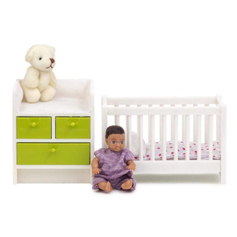 Dolls House Lundby Nursery Baby Furniture Cot Changing Table Set