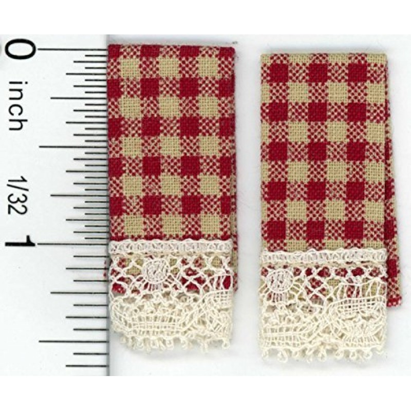 Dolls House Country Red Gingham Kitchen Tea Towels Kitchen Accessory