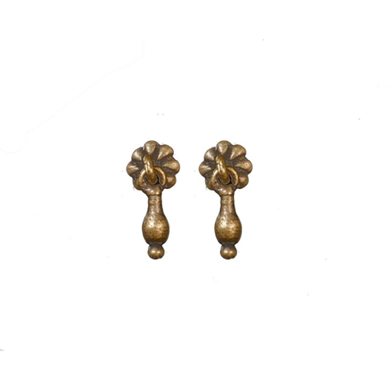 Dolls House Antique Brass Cabinet Door Drawer Handles 1:12 Miniature