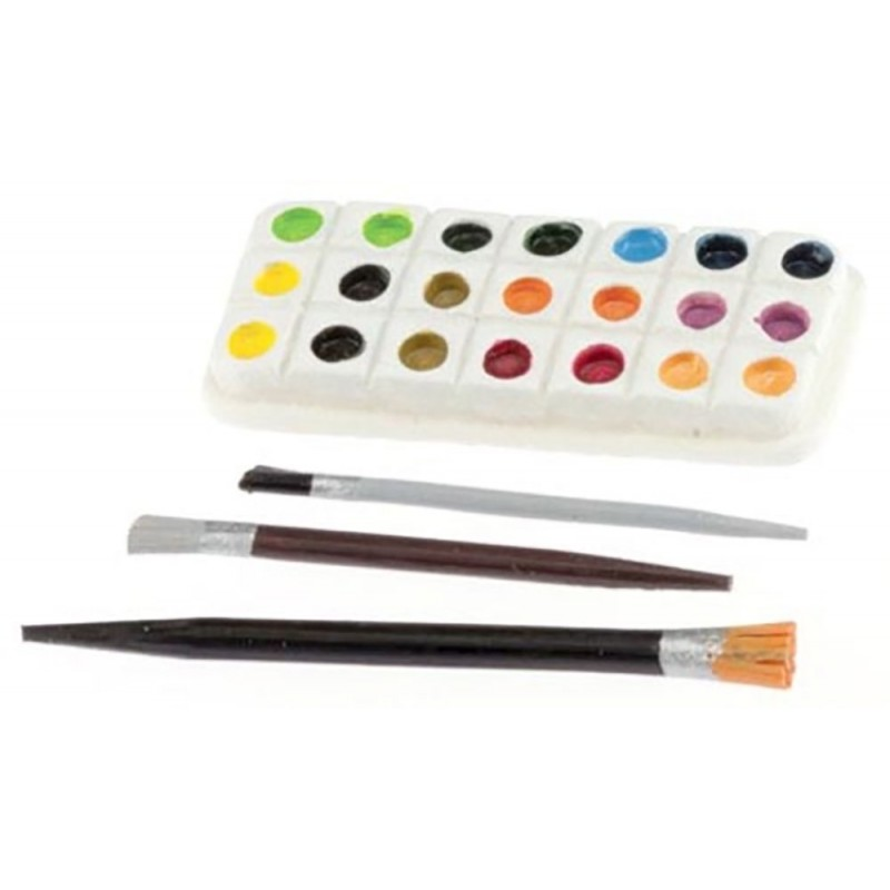 Dolls House Artists Paint Palette & Brushes Study Hobby Accessory