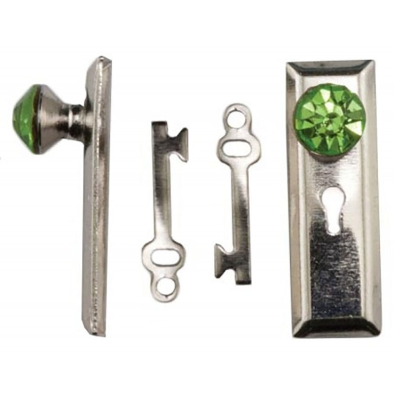 Dolls House Satin Nickel Door Handle with Green Crystal Knob & Keys