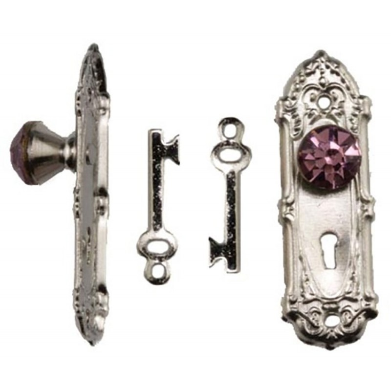 Dolls House Satin Nickel Door Handle with Purple Crystal Knob & Keys