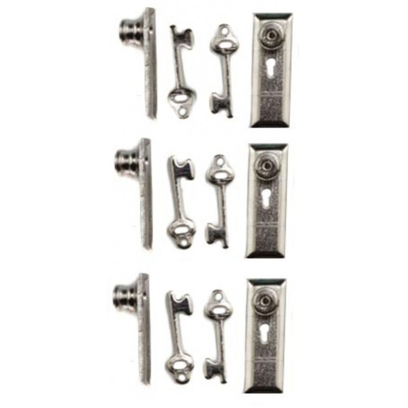 Dolls House Handles Knobs Keyhole & Keys Miniature Door Furniture