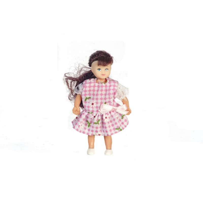 Dolls House Brunette Little Sister Girl Miniature 1:12 Scale People