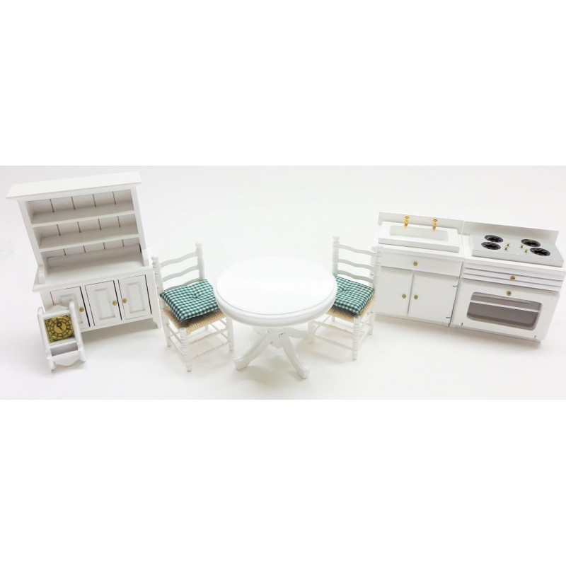 Dolls House White Kitchen Dining Furniture Set Wooden 1:12 Scale