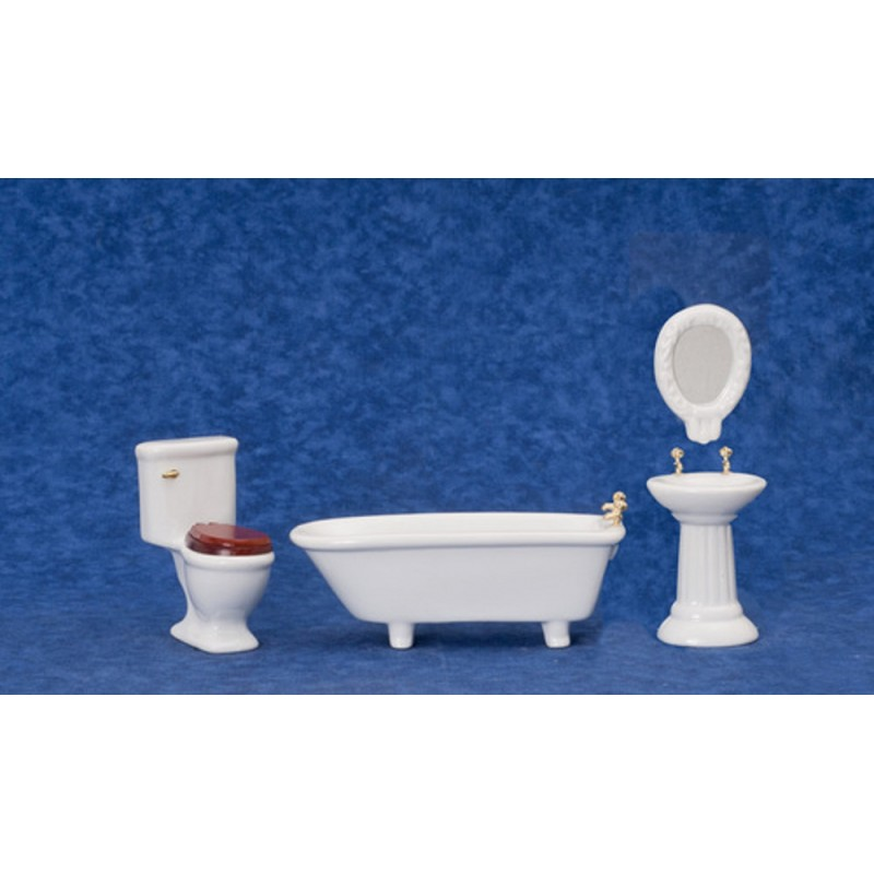 Dolls House Art Deco Plain White Bathroom Furniture Set Suite 1:12