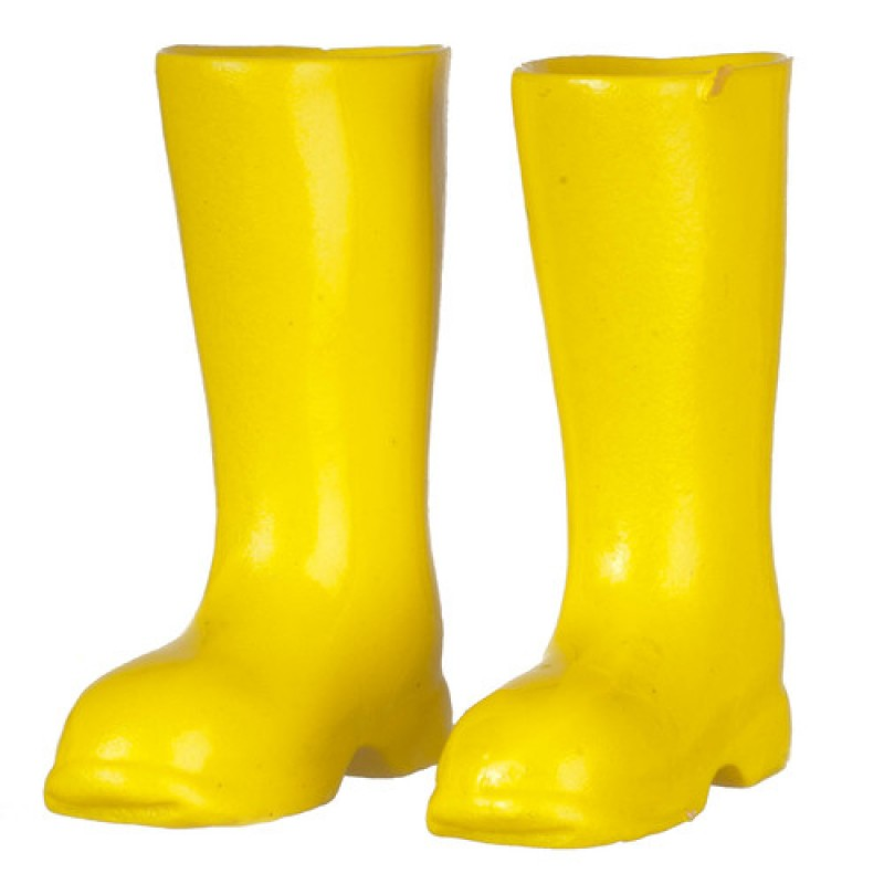 Melody Jane Dolls House Yellow Wellington Boots Wellies 1:12 Garden Accessory