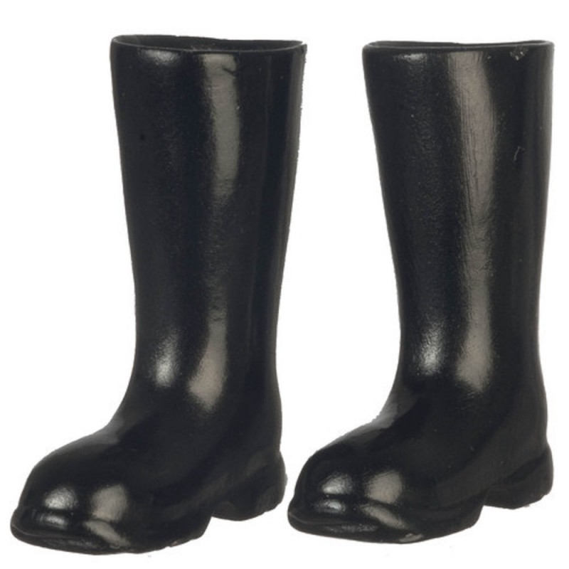 Dolls House Black Wellington Boots Wellies 1:12 Garden Accessory