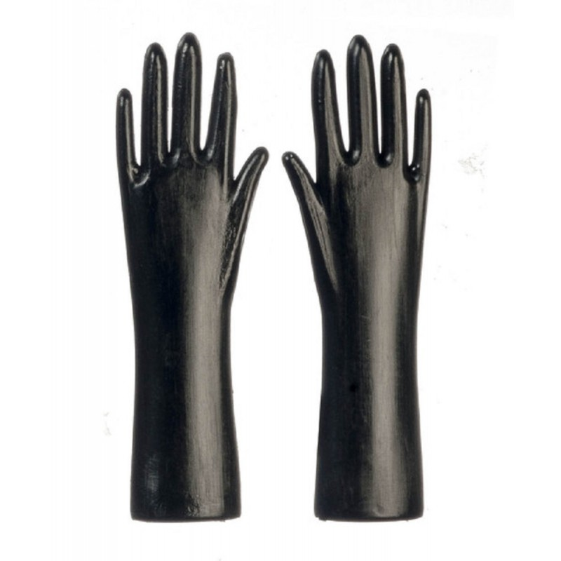 Dolls House Black Rubber Gloves Work Kitchen Garden Accessory
