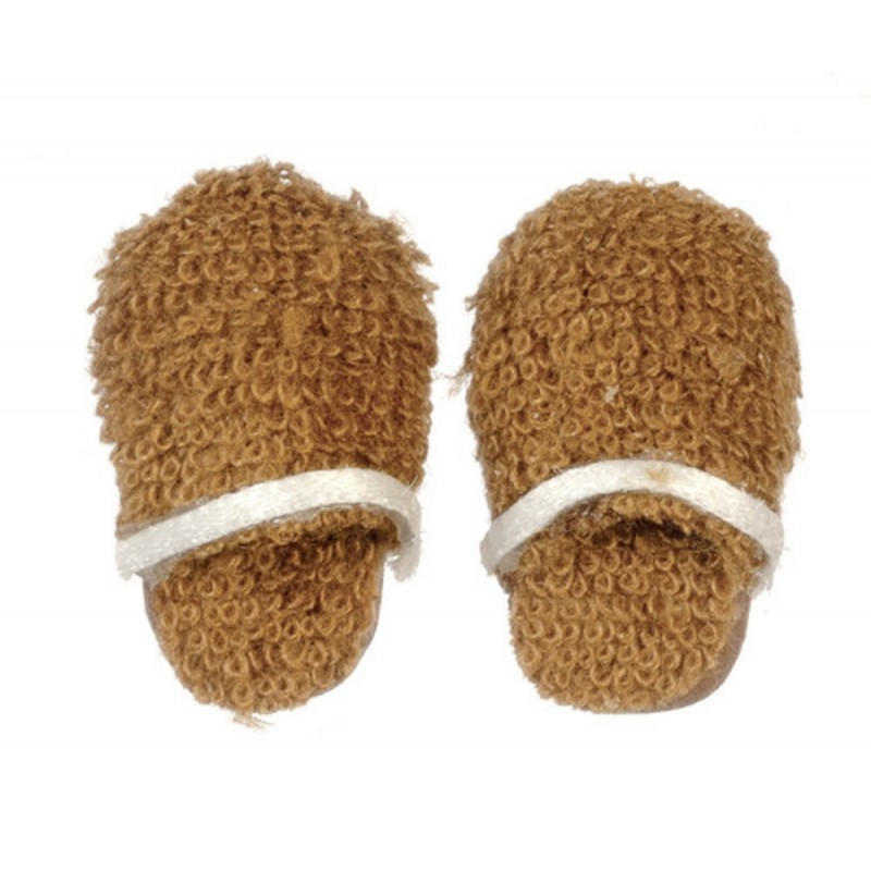 Dolls House Mens Brown Slippers Miniature Bedroom Bathroom Accessory