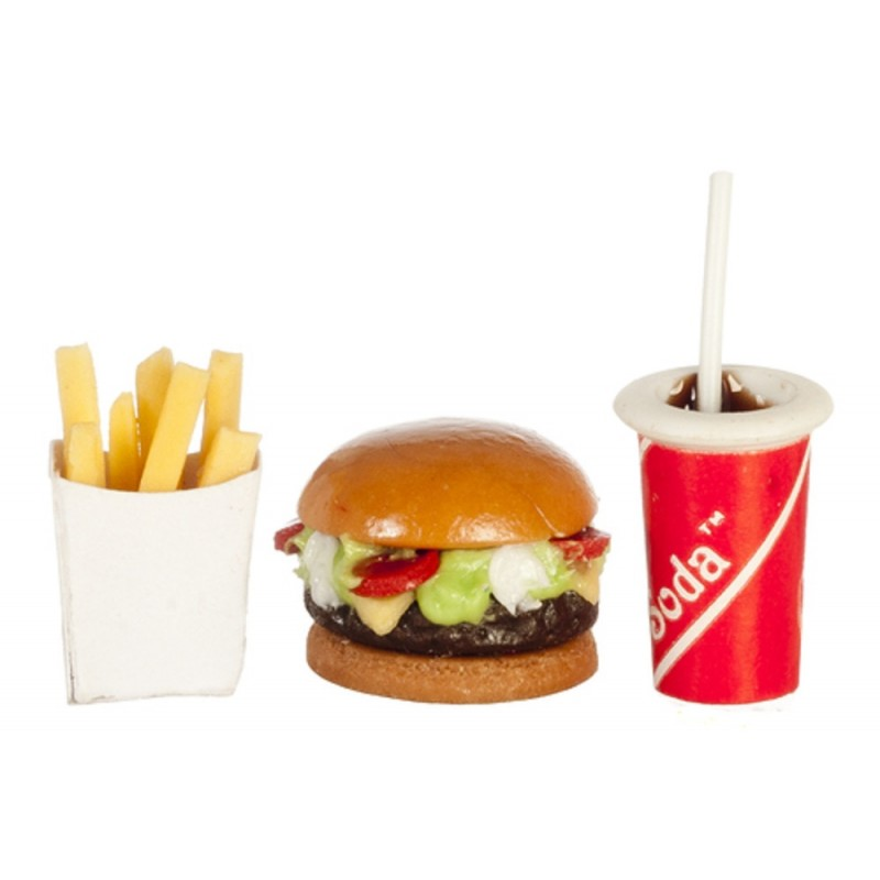 Dolls House Fast Food Burger Fries & Drink Take Away Miniature