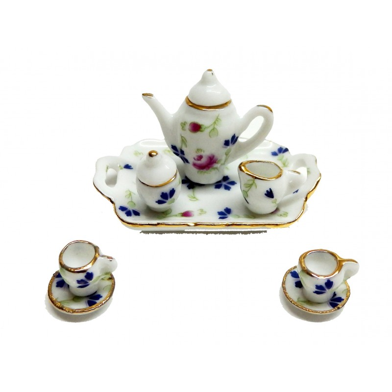 Dolls House Tea Dinner Set Pink Blue Floral Dining Room Accessory