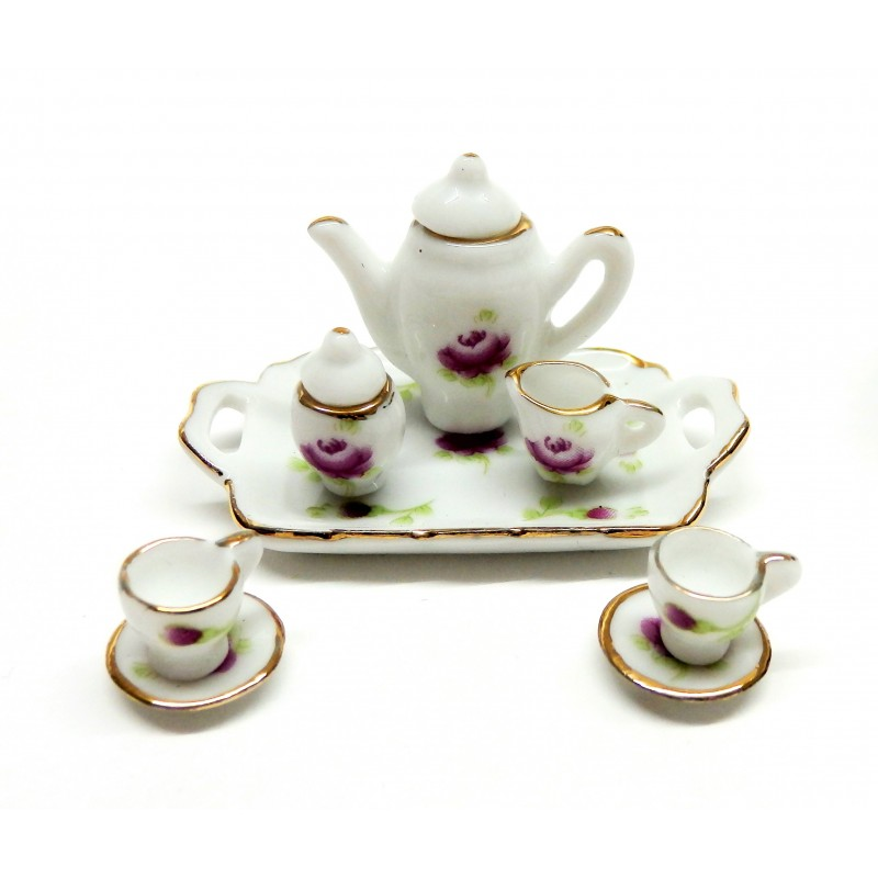 Dolls House Romantic Tea Set Magenta Rose Dining Room Accessory