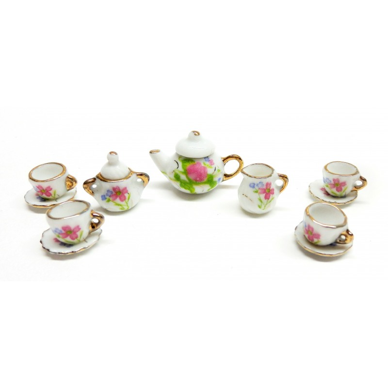 Dolls House English Tea Set Gold Edging Dining Room Accessory