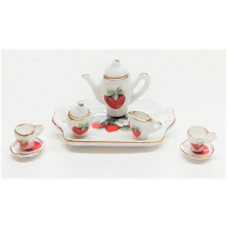 Dolls House Strawberry Tea Set Porcelain Dining Room Accessory 1:12