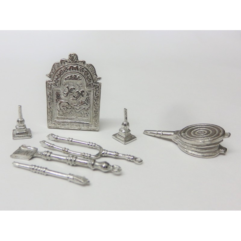 Dolls House Fireplace Accessory Set 1:24 Scale Companion & Screen
