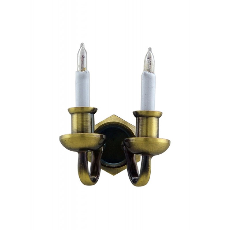 Dolls House Nostalgic Double Candle Wall Light Miniature Electric