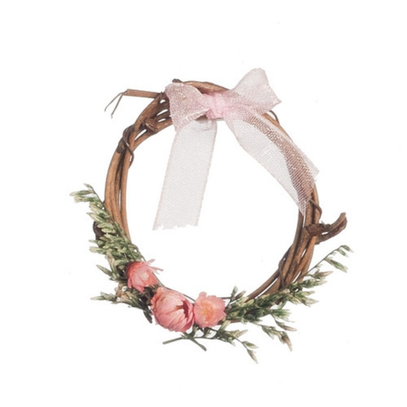 Dolls House Rustic Wreath Decorated in Pink Miniature 1:12 Accessory