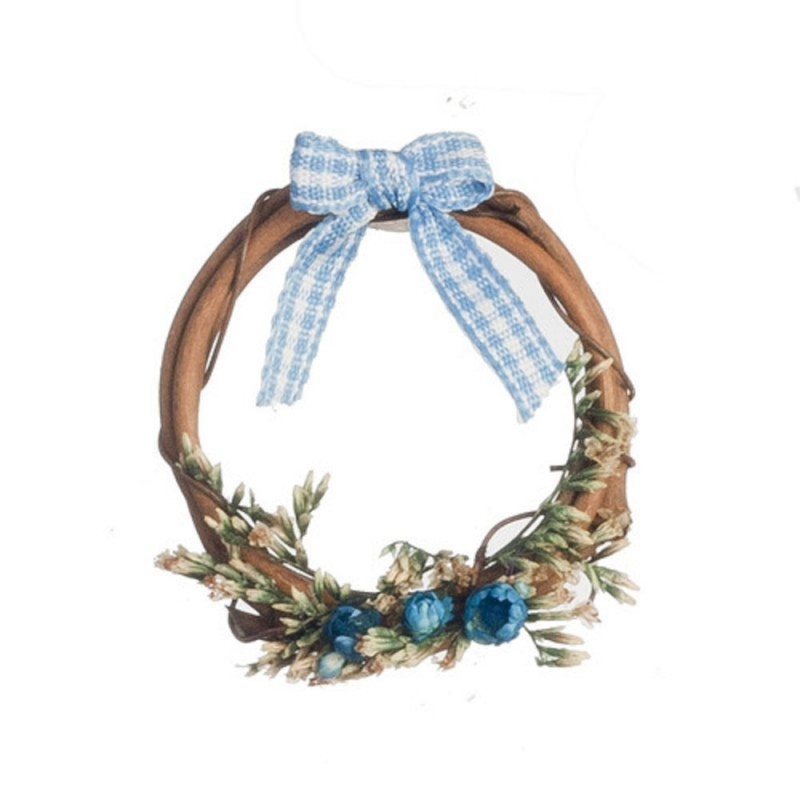 Dolls House Rustic Wreath Decorated in Blue Miniature 1:12 Accessory