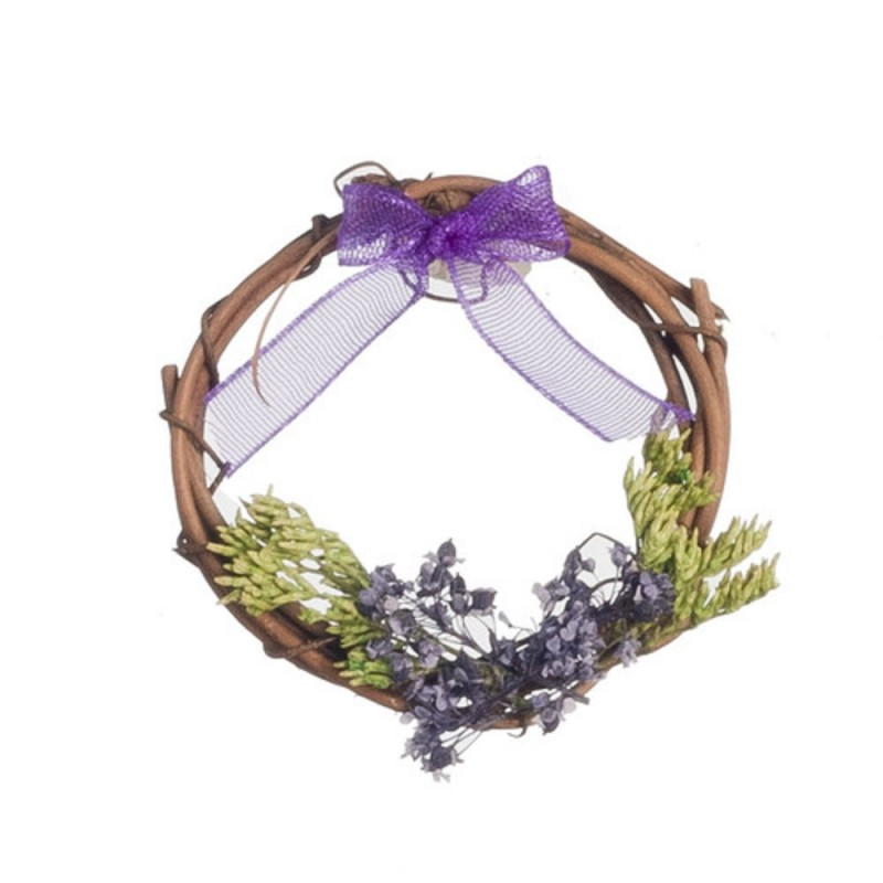 Dolls House Rustic Wreath Decorated in Purple Miniature Accessory