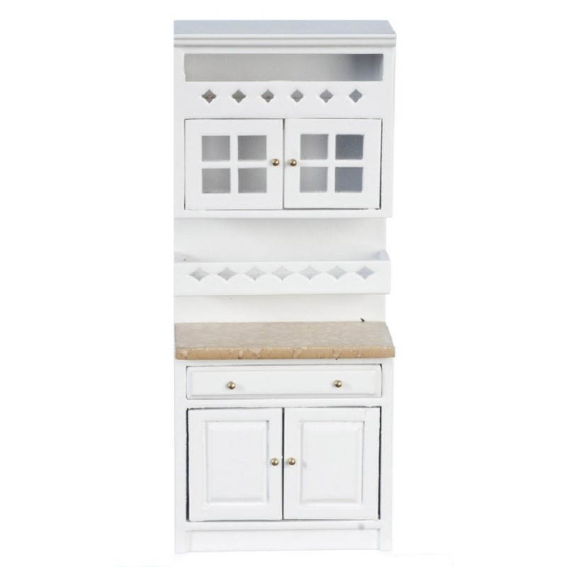 Dolls House White Fitted Kitchen A Shelf Unit Marble Effect Top