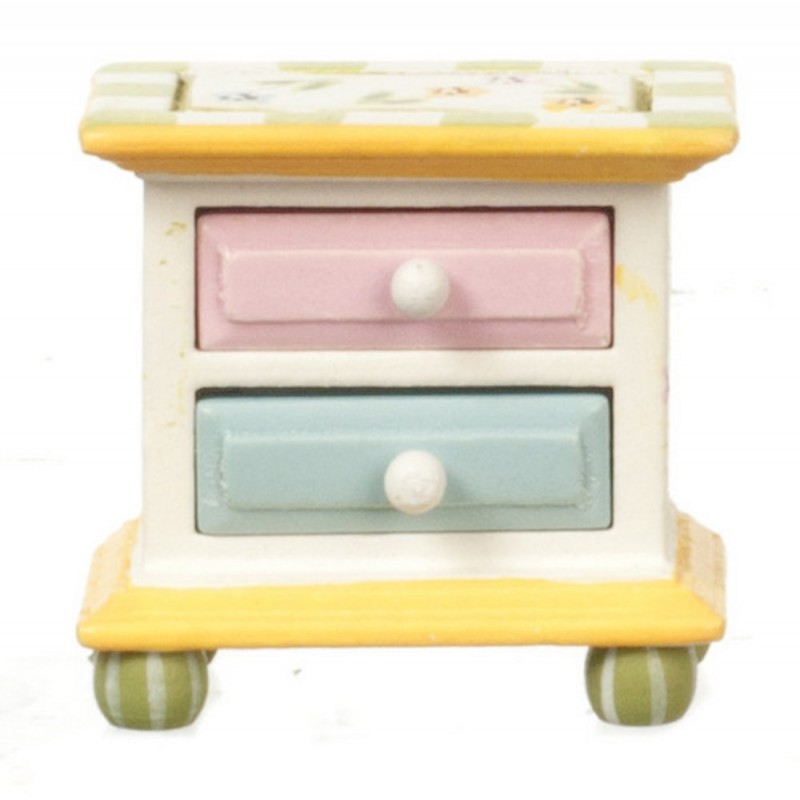 Dolls House Hand Painted Springtime Bedside Chest Bedroom Furniture