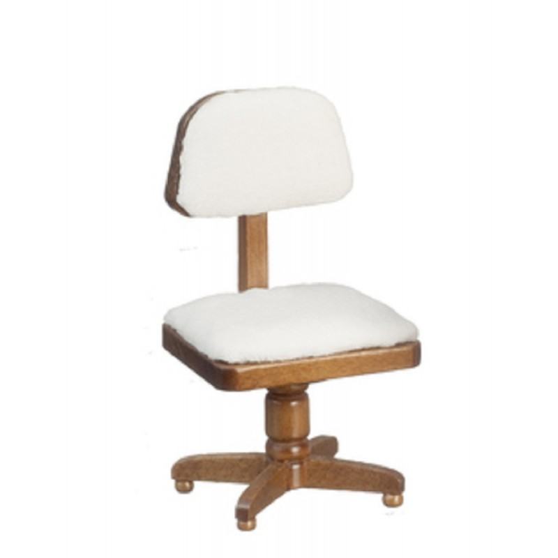 Dolls House Walnut White Desk Chair Miniature Study Office Furniture