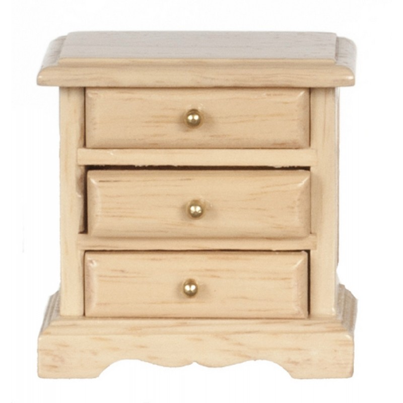Dolls House Light Oak Bedside Chest Nightstand Bedroom Furniture