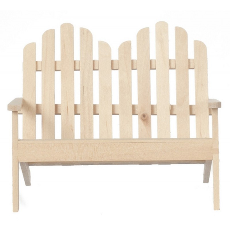 Dolls House Natural Wooden Sofa Bench Miniature Garden Furniture