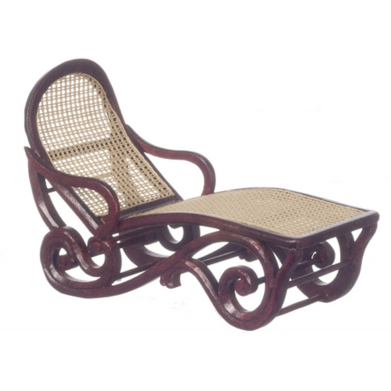 Dolls House Mahogany & Cane Safari Lounge Chair Sun Lounger Platinum