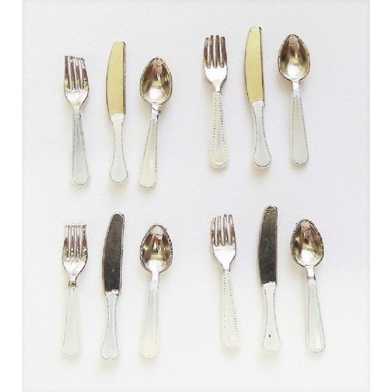 Dolls House Set Of 12 Cutlery White Handles Miniature Dining Accessories
