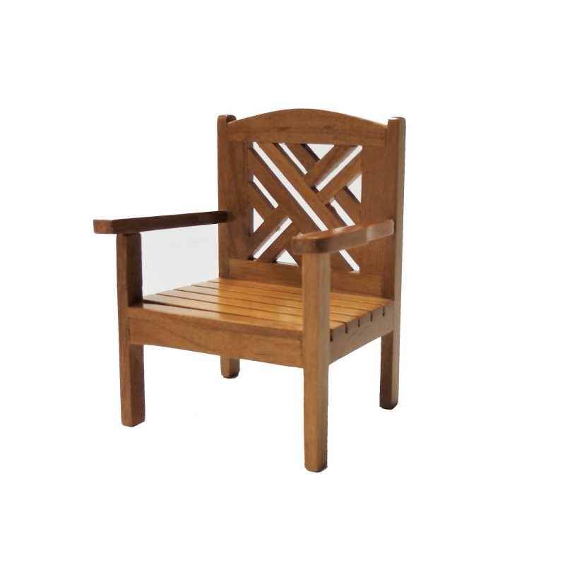 Dolls House Maple Garden Chair Miniature Wooden Patio Furniture