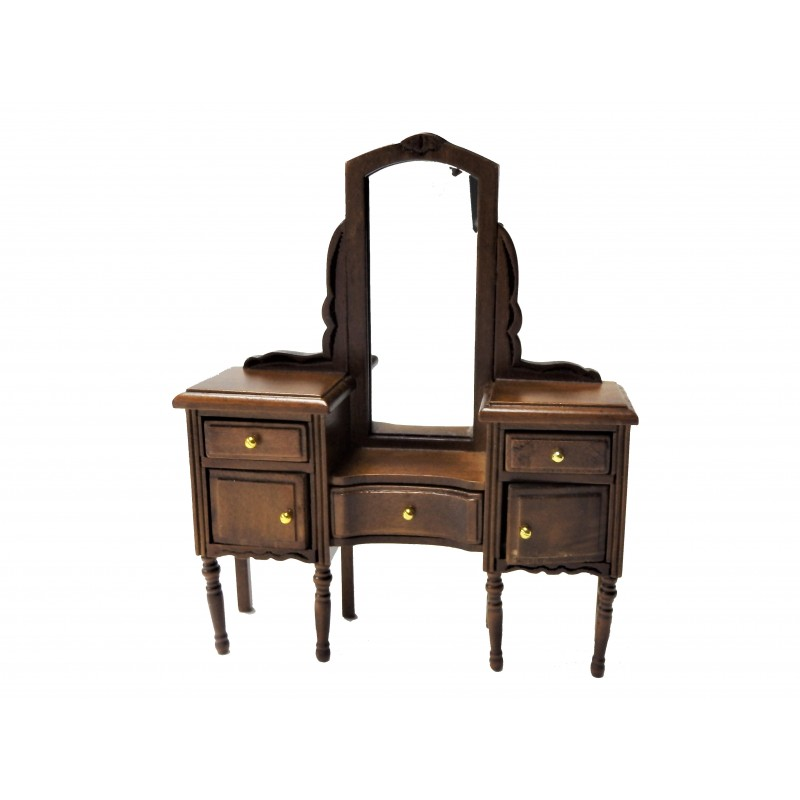 Dolls House Walnut Vanity Dressing Table Miniature Bedroom Furniture