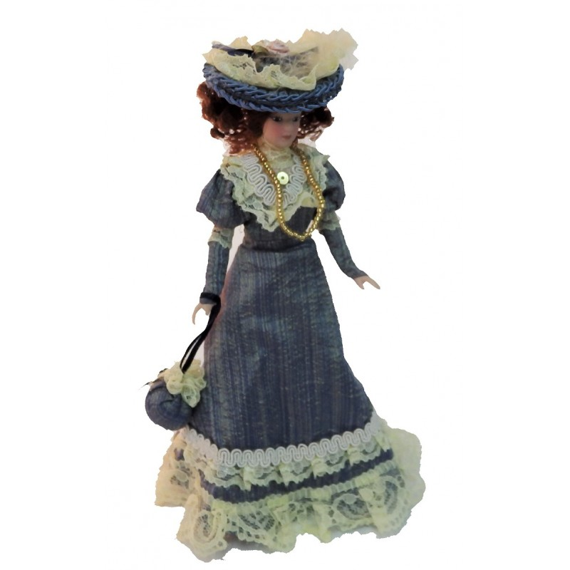 Dolls House Victorian Lady in Blue Outfit Miniature People Porcelain