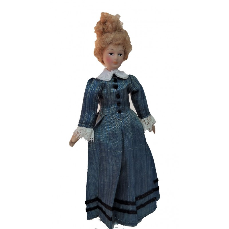 Dolls House Victorian Lady Striped Dress Miniature People Porcelain